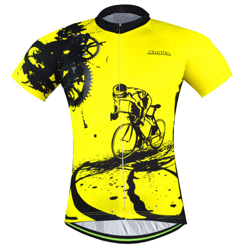 Women/men yellow spandex Cycling jersey tops/short sleeve summer style