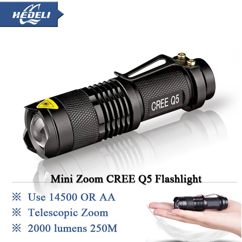 Mini Rechargeable led flashlight  Lanterna High Power Torch 2000 lumen Zoomable bike light