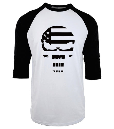 American Flag Punisher Baseball Tee WHILE SUPPLIES LAST