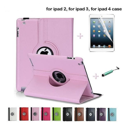 Apple iPad 2 iPad 3 iPad 4 Case 360 Rotating Leather Stand Screen Protector+Stylus - Dollar Store