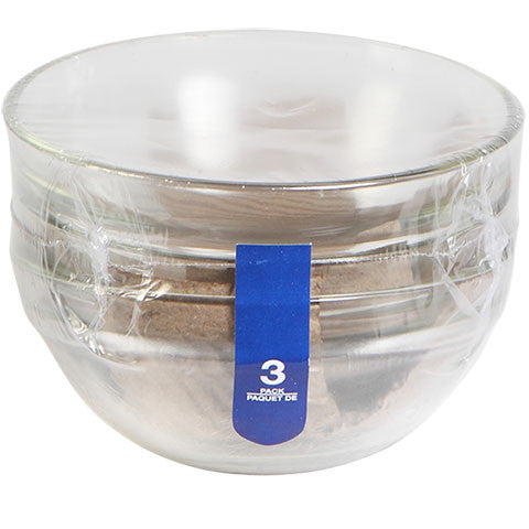 4-in. Glass Prep Bowls, 3-ct. Sets - Dollar Store