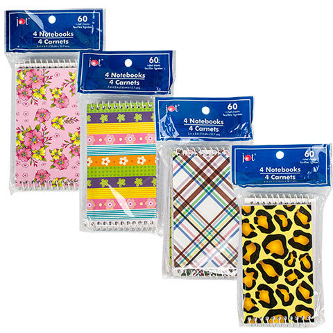 60-Sheet Spiral-Bound Notepads, 4-ct. Packs - Dollar Store