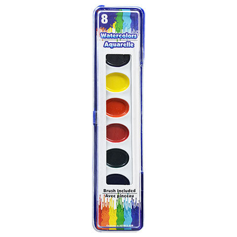 8-Color Watercolor Sets with Brushes - Dollar Store