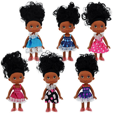 African-American Posable Mini Dolls, 5 in - Dollar Store