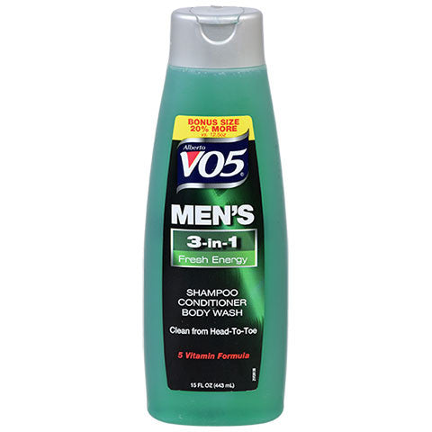 Alberto VO5 Men's 3-in-1 Fresh Energy Shampoo, Conditioner, & Body Wash, 15 oz. - Dollar Store
