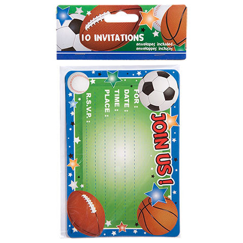 All-Sports Party Invitations with Envelopes, 10-ct. Packs - Dollar Store