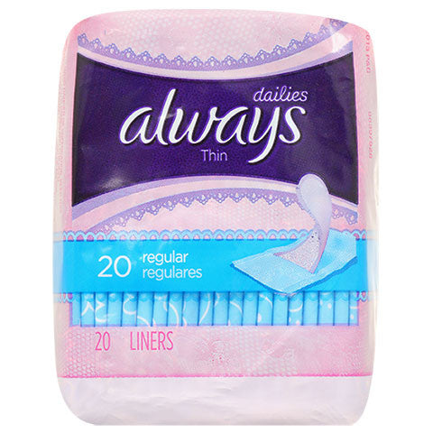 Always Dailies Thin Liners, 20-ct. Packs - Dollar Store