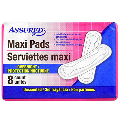 Assured Overnight Maxi Pads, 8-ct. Packs - Dollar Store