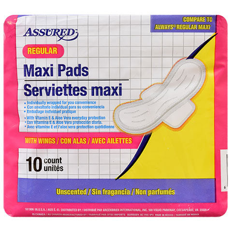 Assured Regular Maxi Pads with Wings, 10-ct. Packs - Dollar Store