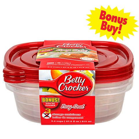 Betty Crocker Easy Seal Square Storage Containers, 3-ct. Bonnus Packs - Dollar Store
