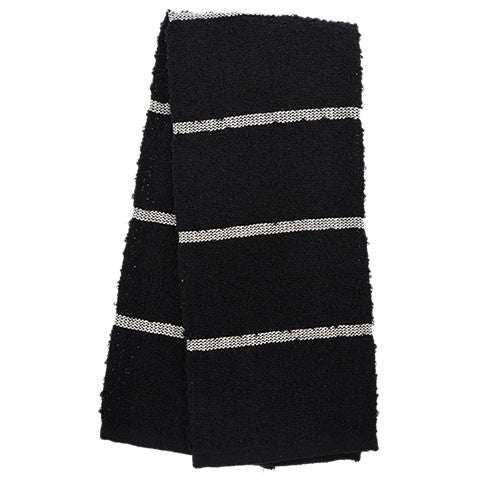 Black Terry Kitchen Towels with Stripes - Dollar Store
