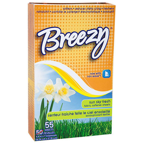 Breezy Sky Fresh Fabric Softner Dryer Sheets, 55-ct. Boxes - Dollar Store
