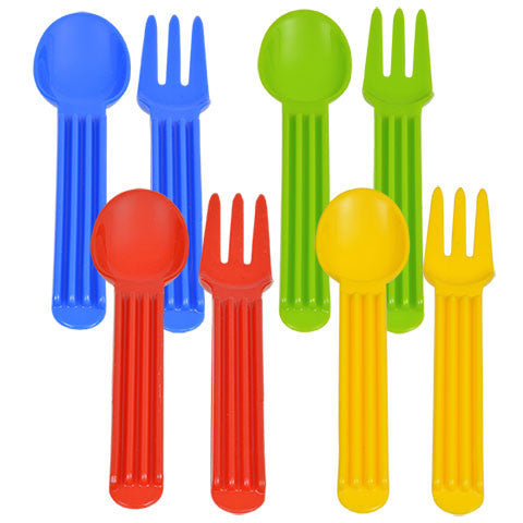 Bright Plastic Forks & Spoons, 2-ct. Sets - Dollar Store