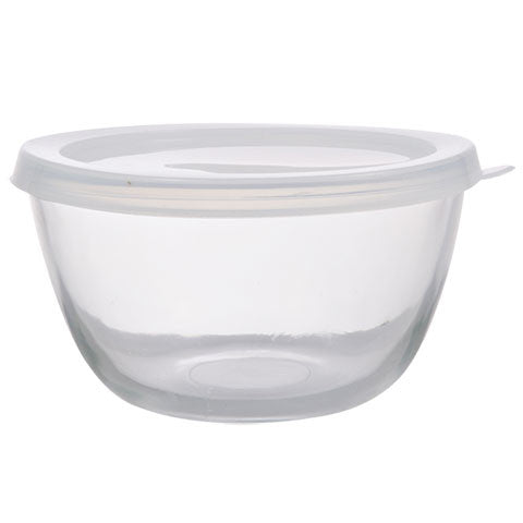 Clear Glass Storage Bowls with Plastic Lids, 5 in - Dollar Store