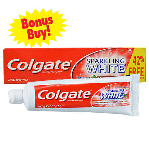 Colgate CinnaMint Sparkling White Gel Toothpaste, 4-oz. Tubes - Dollar Store