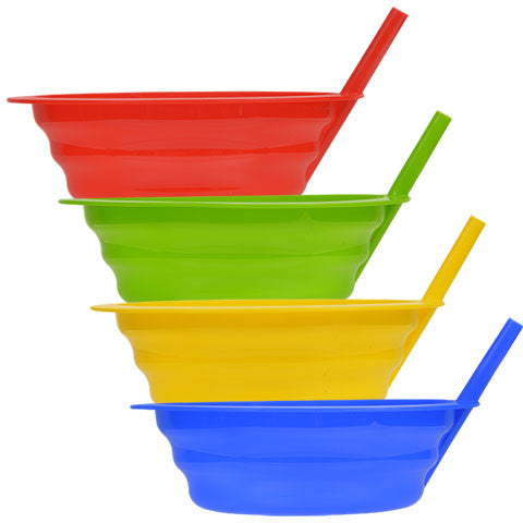Colorful Plastic Bowls with Built-In Straws - Dollar Store