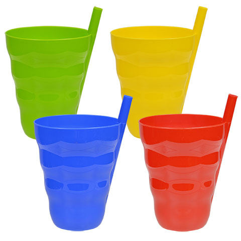 Colorful Plastic Tumblers with Built-In Straws - Dollar Store