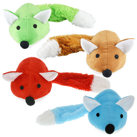 Colorful Plush Fox Dog Toys, 14 in. - Dollar Store