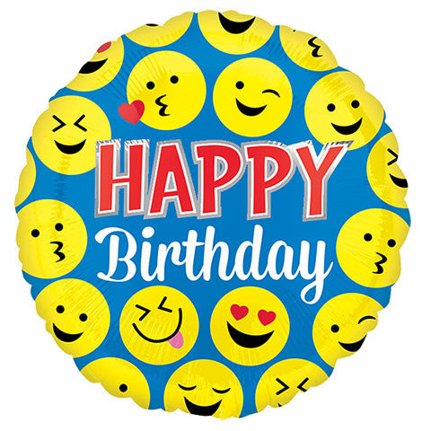 """Happy Birthday"" Smiley Faces Foil Balloons, 18 in. - Dollar Store"