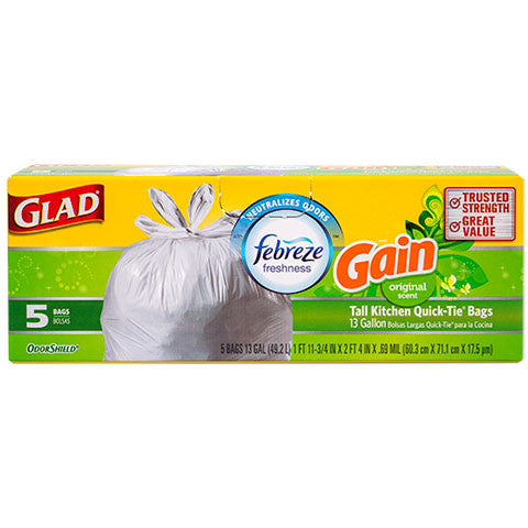 Glad Odor Neutralizing 13-Gallon Kitchen Trash Bags with Febreze, 5-ct. Packs - Dollar Store