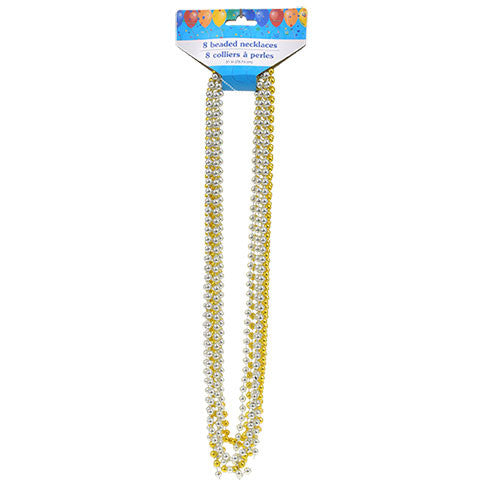 "31"" Gold and Silver Metallic Beaded Party Necklaces, 8-ct. Packs - Dollar Store"