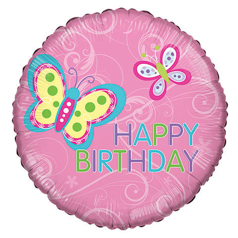 """Happy Birthday"" Butterfly Foil Balloons, 18"" - Dollar Store"