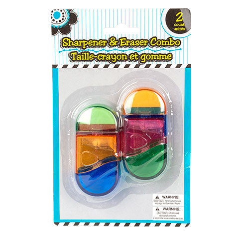 2-in-1 Pencil Sharpeners & Erasers, 2-ct. Packs - Dollar Store
