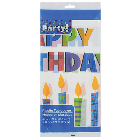 """Happy Birthday"" Plastic Party Table Covers - Dollar Store"