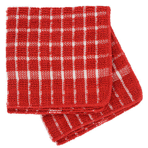 Red and White Checked Cotton Terry Dish Cloths, 2-ct. Packs - Dollar Store
