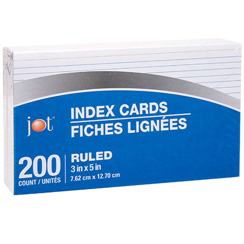 "3x5"" Ruled White Index Cards, 200-ct. Packs - Dollar Store"
