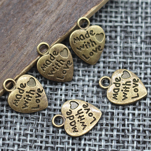 9*12MM 50pcs/lot Heart Shape Vintage Charms Silver/Bronze Plated - Dollar Store