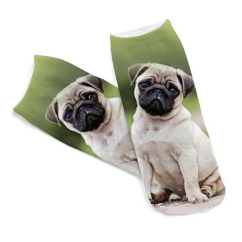 2Pairs of 3D Pugs Printed Socks - Dollar Store