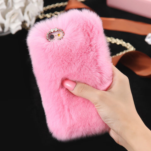 Bling Rhinestone Real Rabbit Fur Cover For iPhone - Dollar Store