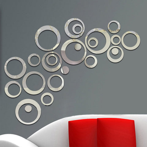 24Pcs Circles Wall Stickers Mirror Style - Dollar Store