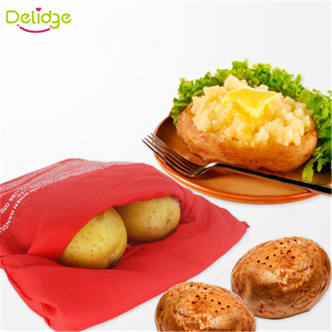 1PC Red Washable Potato Bag For Microwave Oven - Dollar Store