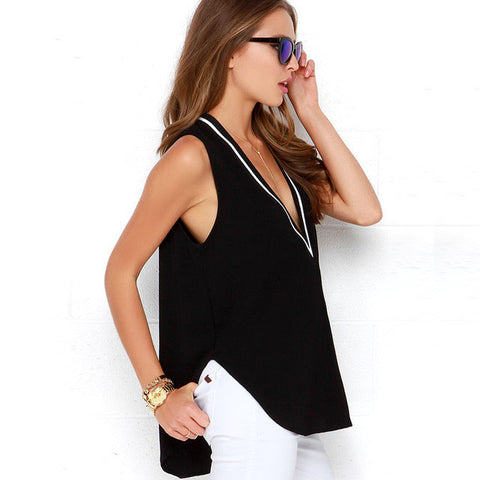 Womens V neck Striped Black Top - Dollar Store
