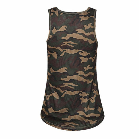 Women O-neck Striped Camo Tank Tops - Dollar Store