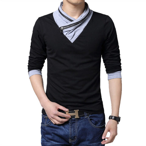Irregular Collar Slim Fit Long Sleeve T Shirt - Dollar Store