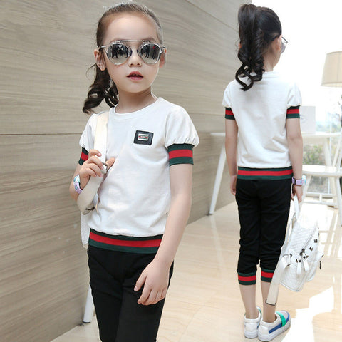 Children Clothing Set Fashion Striped T shirt+ Capris Two-Piece Sport Suits 4 Colors..Age 3-15Y - Dollar Store