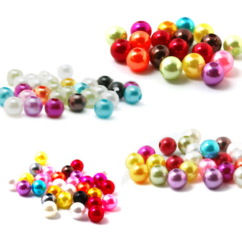 Pick Size 4mm 6mm 8mm 10mm, 15 color, ABS Imitation Pearls Beads - Dollar Store