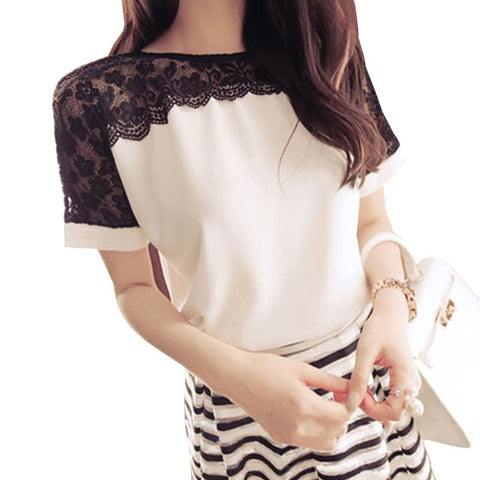 Women Lace Top Chiffon Short Sleeve - Dollar Store