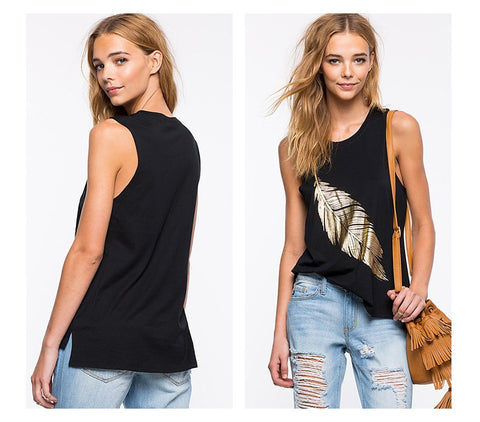 Womens Black Sexy Loose Slim Tank Top - Dollar Store