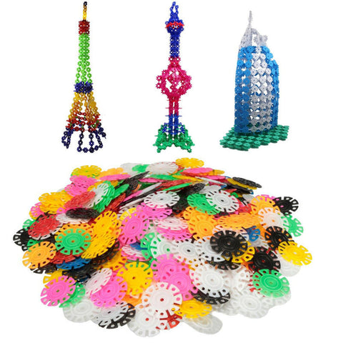400PCs New Arrival Multicolor Kids Snowflake Building Puzzle Blocks - Dollar Store