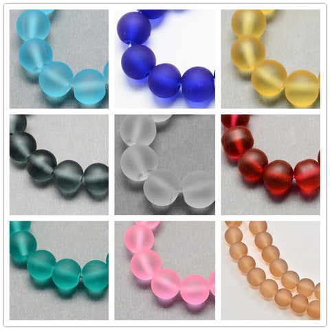 20Colors Frosted Transparent Glass Beads for DIY Jewelry Making - Dollar Store