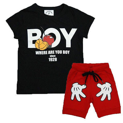 2PCS Toddler Boy Kids Outfits T-shirt+Shorts Clothes Set 2-7Y - Dollar Store