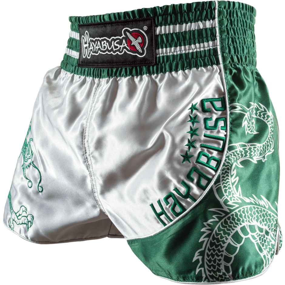HAYABUSA SACRED MUAY THAI SHORTS - GREEN - FightFlair
