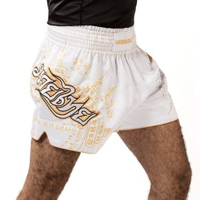 HAYABUSA FALCON MUAY THAI SHORTS - WHITE/GOLD - FightFlair