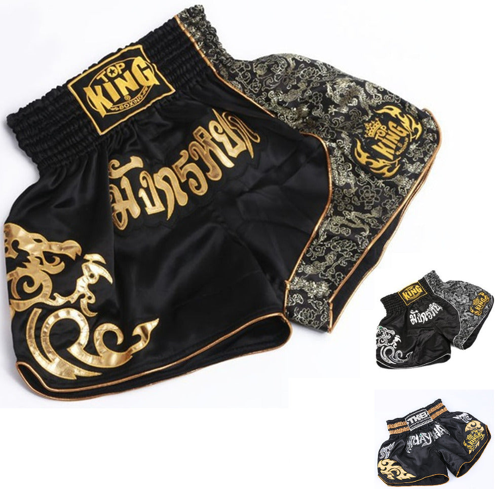 Top King Muay Thai Shorts - BLACK/GOLD - FightFlair