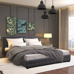 Milano Decor Eden Gas Lift Bed Frame with Headboard - Dark Grey