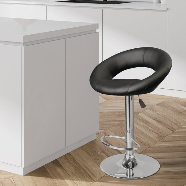 Milano Decor Delilah Circular Arc Adjustable Barstool - Black